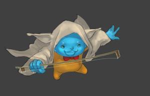 Flint cosplaying as Yoda step 3