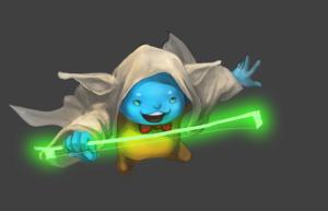 Flint cosplaying as Yoda step 6