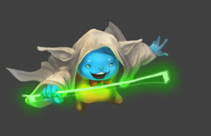 Flint cosplaying as Yoda step 7