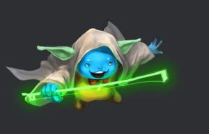 Flint cosplaying as Yoda step 8